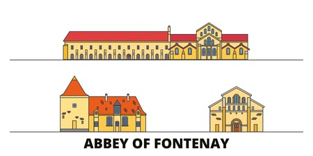 France, Abbey Of Fontenay  flat landmarks vector illustration. France, Abbey Of Fontenay  line city with famous travel sights, design skyline.