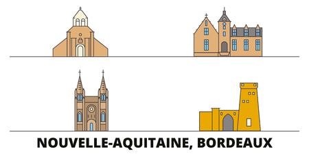 France, Bordeaux télévision landmarks vector illustration. France, Bordeaux line city avec de célèbres sites de voyage, design d'horizon.