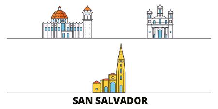 El Salvador, San Salvador flat landmarks vector illustration. El Salvador, San Salvador line city with famous travel sights, design skyline. Ilustração