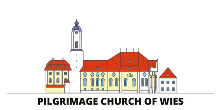 Germany, Steingaden, Pilgrimage Church Of Wies flat landmarks vector illustration. Germany, Steingaden, Pilgrimage Church Of Wies line city with famous travel sights, design skyline. Ilustração