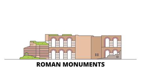 Germany, Trier, Roman Monuments, Cathedral Of St. Peter And Church Of Our Lady flat landmarks vector illustration. Germany, Trier, Roman Monuments, Cathedral Of St. Peter And Church Of Our Lady line city with famous travel sights, design skyline.