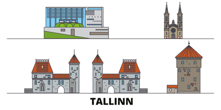 Estonia, Tallinn flat landmarks vector illustration. Estonia, Tallinn line city with famous travel sights, design skyline.