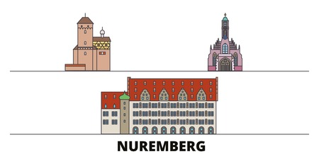 Germany, Nuremberg flat landmarks vector illustration. Germany, Nuremberg line city with famous travel sights, design skyline. Ilustração