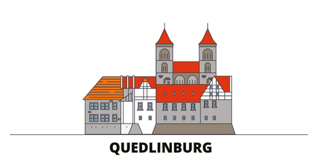Germany, Quedlinburg flat landmarks vector illustration. Germany, Quedlinburg line city with famous travel sights, design skyline.