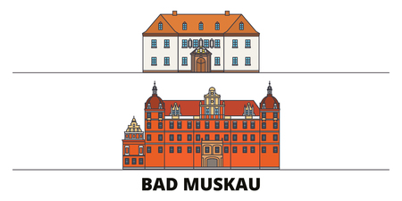 Germany, Bad Muskau flat landmarks vector illustration. Germany, Bad Muskau line city with famous travel sights, design skyline.