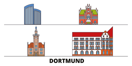Germany, Dortmund flat landmarks vector illustration. Germany, Dortmund line city with famous travel sights, design skyline.