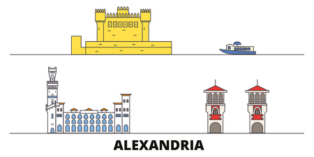 Egypt, Alexandria flat landmarks vector illustration. Egypt, Alexandria line city with famous travel sights, design skyline. Ilustração