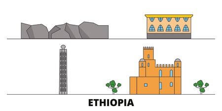 Ethiopia flat landmarks vector illustration. Ethiopia line city with famous travel sights, design skyline.