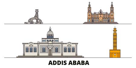 Ethiopia, Addis Ababa flat landmarks vector illustration. Ethiopia, Addis Ababa line city with famous travel sights, design skyline.