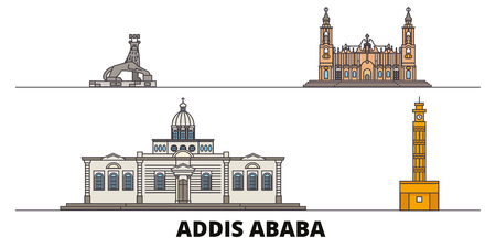 Ethiopia, Addis Ababa flat landmarks vector illustration. Ethiopia, Addis Ababa line city with famous travel sights, design skyline.