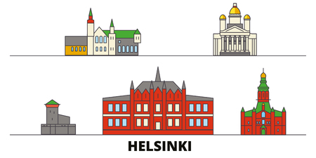 Finland, Helsinki flat landmarks vector illustration. Finland, Helsinki line city with famous travel sights, design skyline.