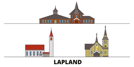Finland, Lapland flat landmarks vector illustration. Finland, Lapland line city with famous travel sights, design skyline.