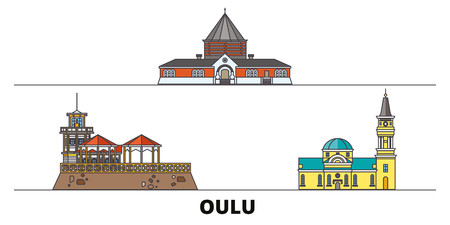 Finland, Oulu flat landmarks vector illustration. Finland, Oulu line city with famous travel sights, design skyline.