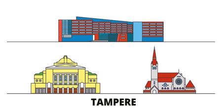 Finland, Tampere flat landmarks vector illustration. Finland, Tampere line city with famous travel sights, design skyline.  イラスト・ベクター素材