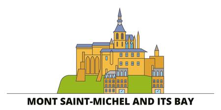 France, Mont Saint Michel And Its Bay Landmark flat landmarks vector illustration. France, Mont Saint Michel And Its Bay Landmark line city with famous travel sights, design skyline. Illustration