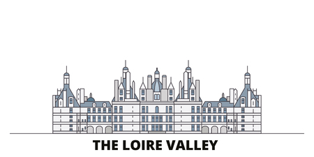 France, The Loire Valley  flat landmarks vector illustration. France, The Loire Valley  line city with famous travel sights, design skyline.