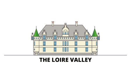 France, The Loire Valley Landmark flat landmarks vector illustration. France, The Loire Valley Landmark line city with famous travel sights, design skyline.