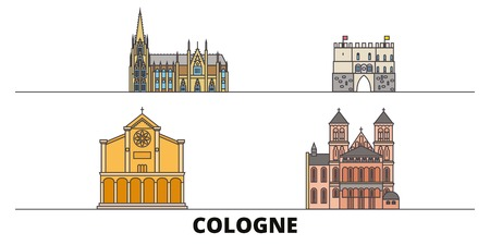 Germany, Cologne flat landmarks vector illustration. Germany, Cologne line city with famous travel sights, design skyline.