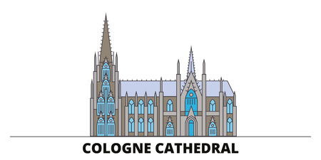 Germany, Cologne Cathedral flat landmarks vector illustration. Germany, Cologne Cathedral line city with famous travel sights, design skyline. Ilustração
