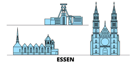 Germany, Essen flat landmarks vector illustration. Germany, Essen line city with famous travel sights, design skyline.