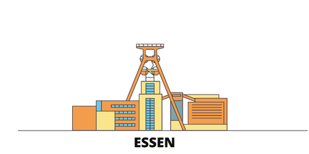Germany, Essen, Zollverein Coal Mine Industrial Complex flat landmarks vector illustration. Germany, Essen, Zollverein Coal Mine Industrial Complex line city with famous travel sights, design skyline.