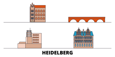 Germany, Heidelberg flat landmarks vector illustration. Germany, Heidelberg line city with famous travel sights, design skyline. Illustration