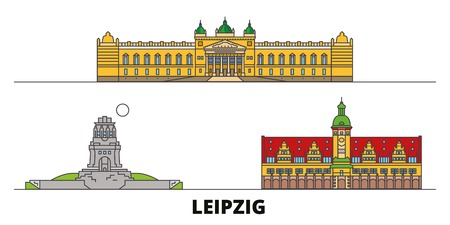 Germany, Leipzig flat landmarks vector illustration. Germany, Leipzig line city with famous travel sights, design skyline.