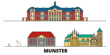 Germany, Munster flat landmarks vector illustration. Germany, Munster line city with famous travel sights, design skyline.