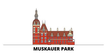 Germany, Muskauer Parki flat landmarks vector illustration. Germany, Muskauer Parki line city with famous travel sights, design skyline.