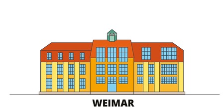 Germany, Weimar,Bauhaus flat landmarks vector illustration. Germany, Weimar,Bauhaus line city with famous travel sights, design skyline.