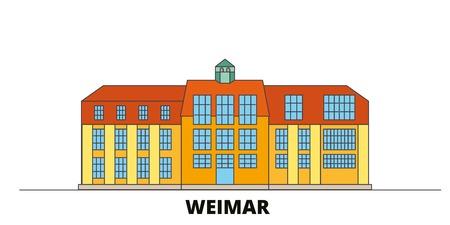 Germany, Weimar,Bauhaus flat landmarks vector illustration. Germany, Weimar,Bauhaus line city with famous travel sights, design skyline.