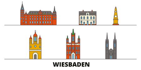 Germany, Wiesbaden flat landmarks vector illustration. Germany, Wiesbaden line city with famous travel sights, design skyline. Illustration