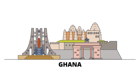 Ghana flat landmarks vector illustration. Ghana line city with famous travel sights, design skyline.