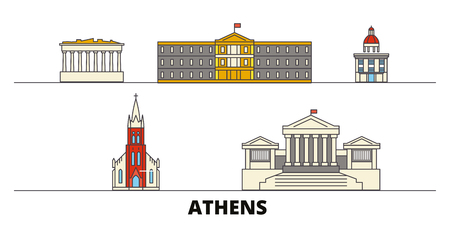 Greece, Athens flat landmarks vector illustration. Greece, Athens line city with famous travel sights, design skyline. Ilustrace