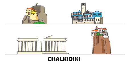 Greece, Chalkidiki flat landmarks vector illustration. Greece, Chalkidiki line city with famous travel sights, design skyline.
