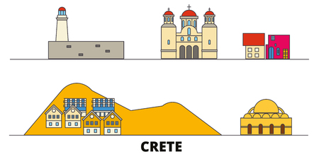 Greece, Crete flat landmarks vector illustration. Greece, Crete line city with famous travel sights, design skyline. Ilustração