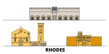 Greece, Rhodes flat landmarks vector illustration. Greece, Rhodes line city with famous travel sights, design skyline. Çizim