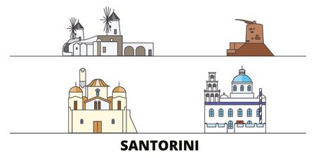 Greece, Santorini flat landmarks vector illustration. Greece, Santorini line city with famous travel sights, design skyline.