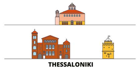 Greece, Thessaloniki flat landmarks vector illustration. Greece, Thessaloniki line city with famous travel sights, design skyline. Illustration
