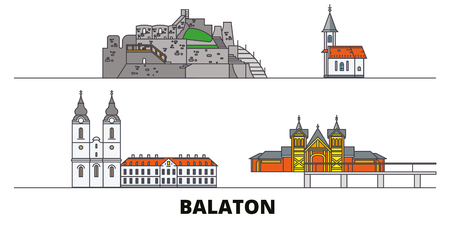 Hungary, Balaton flat landmarks vector illustration. Hungary, Balaton line city with famous travel sights, design skyline.
