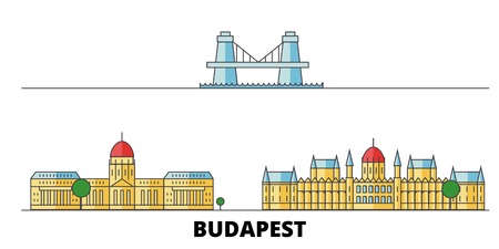 Hungary, Budapest flat landmarks vector illustration. Hungary, Budapest line city with famous travel sights, design skyline.