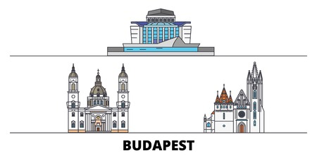 Hungary, Budapest City flat landmarks vector illustration. Hungary, Budapest City line city with famous travel sights, design skyline.