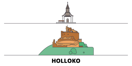 Hungary, Holloko, Old Village flat landmarks vector illustration. Hungary, Holloko, Old Village line city with famous travel sights, design skyline.