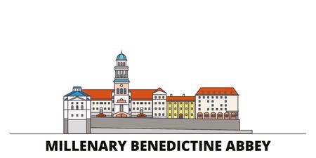 Hungary, Millenary Benedictine Abbey flat landmarks vector illustration. Hungary, Millenary Benedictine Abbey line city with famous travel sights, design skyline. Illustration