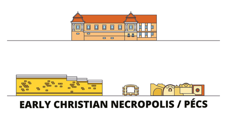 Hungary, Pecs, Early Christian Necropolis  flat landmarks vector illustration. Hungary, Pecs, Early Christian Necropolis  line city with famous travel sights, design skyline.