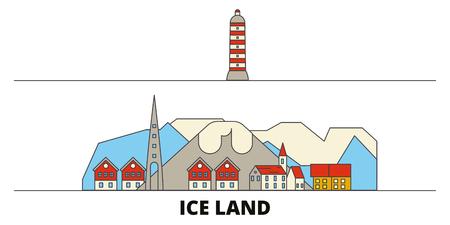 Iceland flat landmarks vector illustration. Iceland line city with famous travel sights, design skyline.
