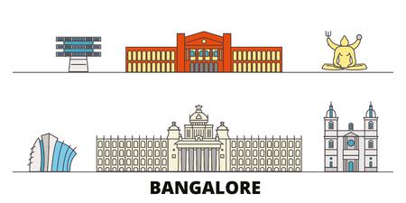 India, Bangalore flat landmarks vector illustration. India, Bangalore line city with famous travel sights, design skyline.
