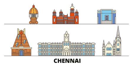 India, Chennai flat landmarks vector illustration. India, Chennai line city with famous travel sights, design skyline.