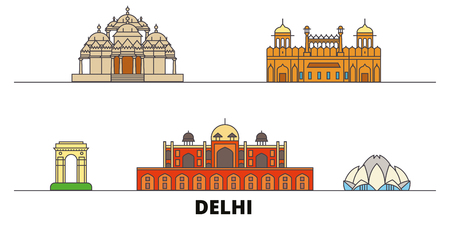 India, Delhi flat landmarks vector illustration. India, Delhi line city with famous travel sights, design skyline.  イラスト・ベクター素材