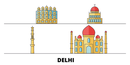 India, Delhi City flat landmarks vector illustration. India, Delhi City line city with famous travel sights, design skyline.